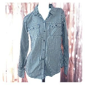 Eddie Bauer • Black White Check Long Sleeve